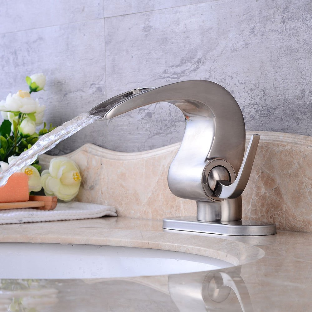 Hlluya Professional Sink Mixer Tap Kitchen Faucet Brushed basin waterfall faucet bathroom vanity faucet hot and cold antique table basin single hole Single Handle