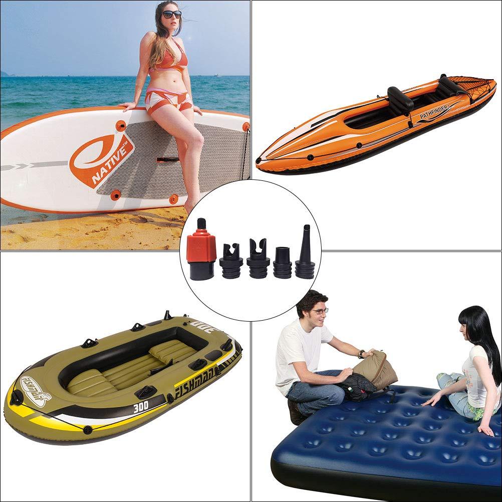 Kampre 1PC Surf Paddle Valve Adaptor et 4PCS Gas Buse pour Cano/ë Gonflable D/ériveurs Piscines Lits