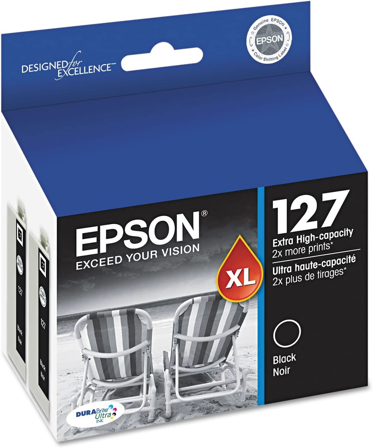 Epson DuraBrite 127xl Extra Yield Combo Pack, Black (2 ink cartridges in this box)