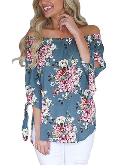 cc7f662dd19 AlvaQ Women Off Shoulder 3/4 Sleeve Cuffed Floral Print Tops (7 Colors,  S-XXL)