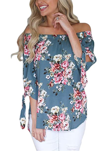 601130572910 AlvaQ Women Chiffon Summer Boho 3 4 Sleeve Tunic Sexy Casual Floral Party  Tops Juniors T