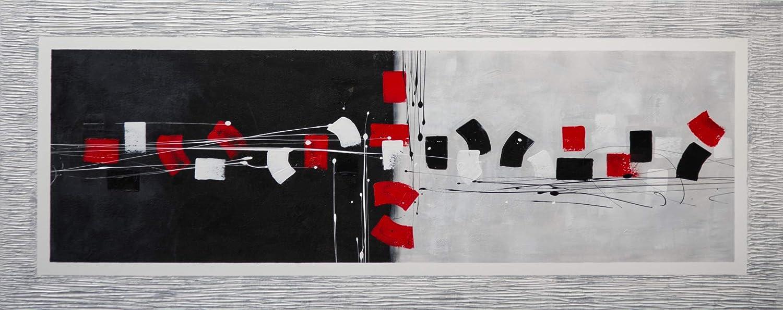 Cuadro Pintado Abstracto Rojo y Negro 150x60 cm con Marco Pintado en el Lienzo 100% Original