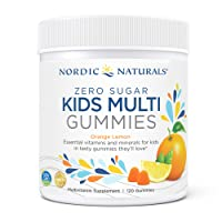 Nordic Naturals Zero Sugar Kids Multi Gummies, Orange Lemon - 120 Gummies - Great-Tasting Multivitamin for Ages 4+ - Supports Growth & Development - Non-GMO, Vegetarian - 30 Servings