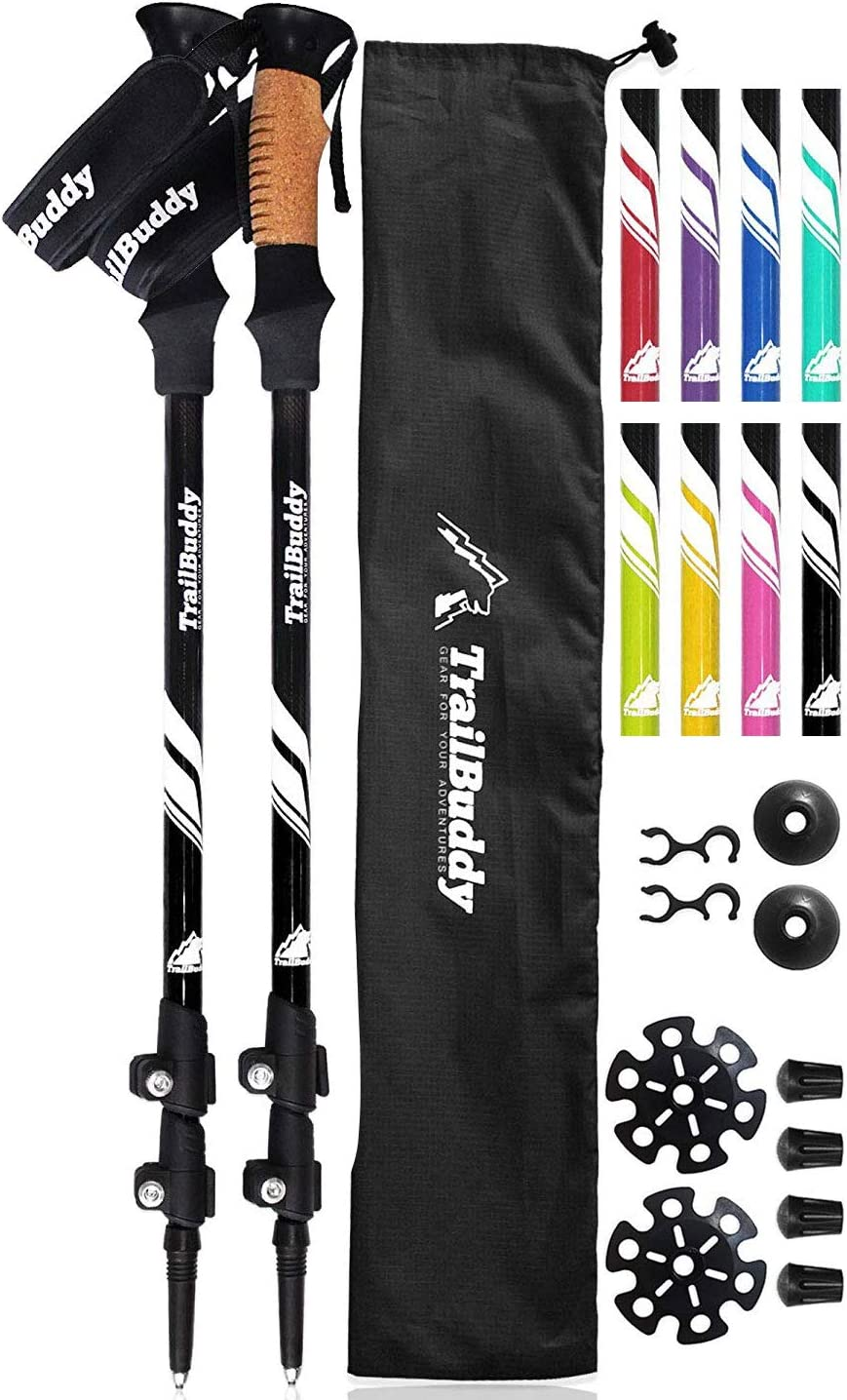 TrailBuddy Trekking Poles – 2-pc Pack Adjustable Hiking or Walking Sticks – Strong, Lightweight Aluminum 7075 – Quick Adjust Flip-Lock – Cork Grip, Padded Strap
