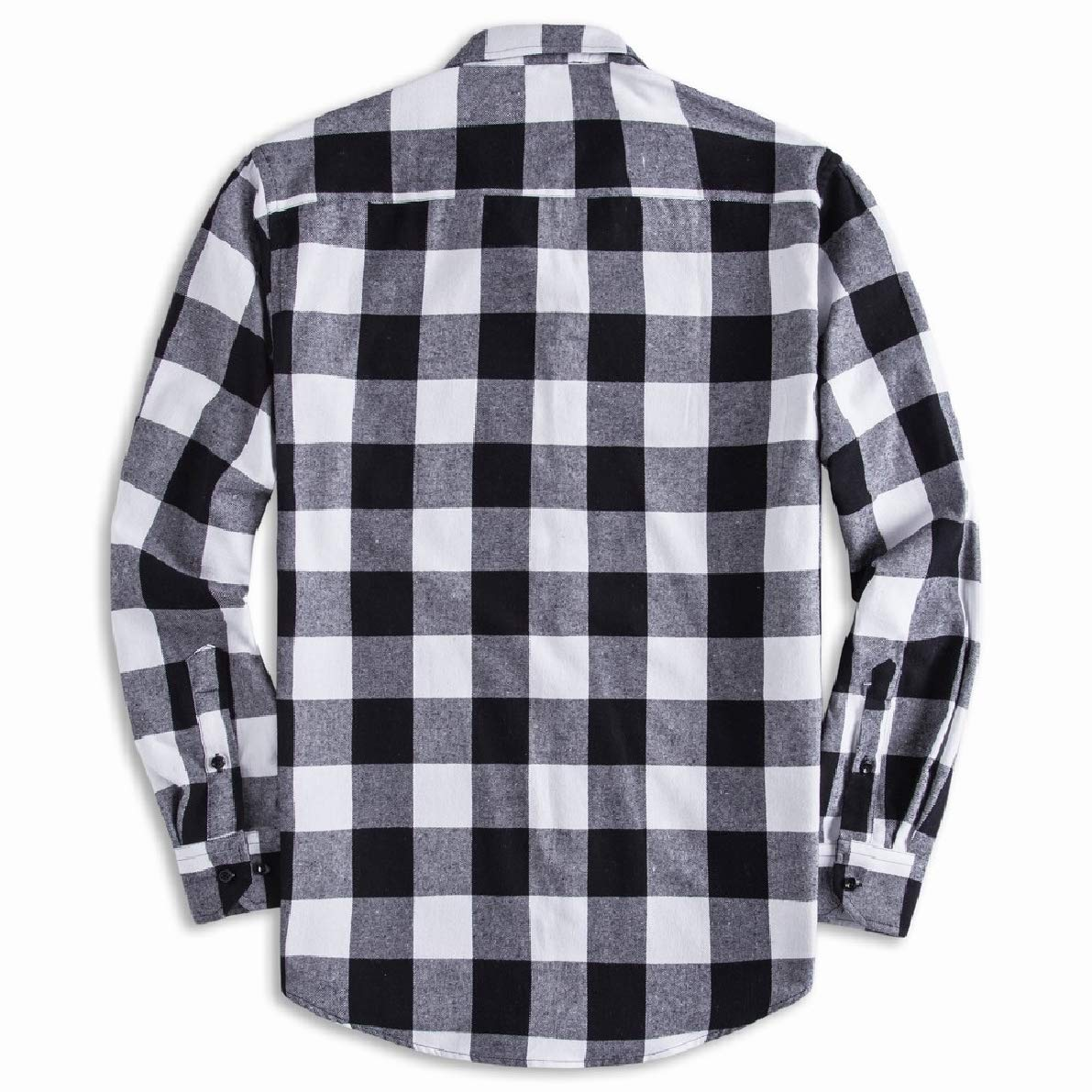 Winwinus Mens Plaid Relaxed-Fit Square Collar Long-Sleeve Loose Dress Shirts