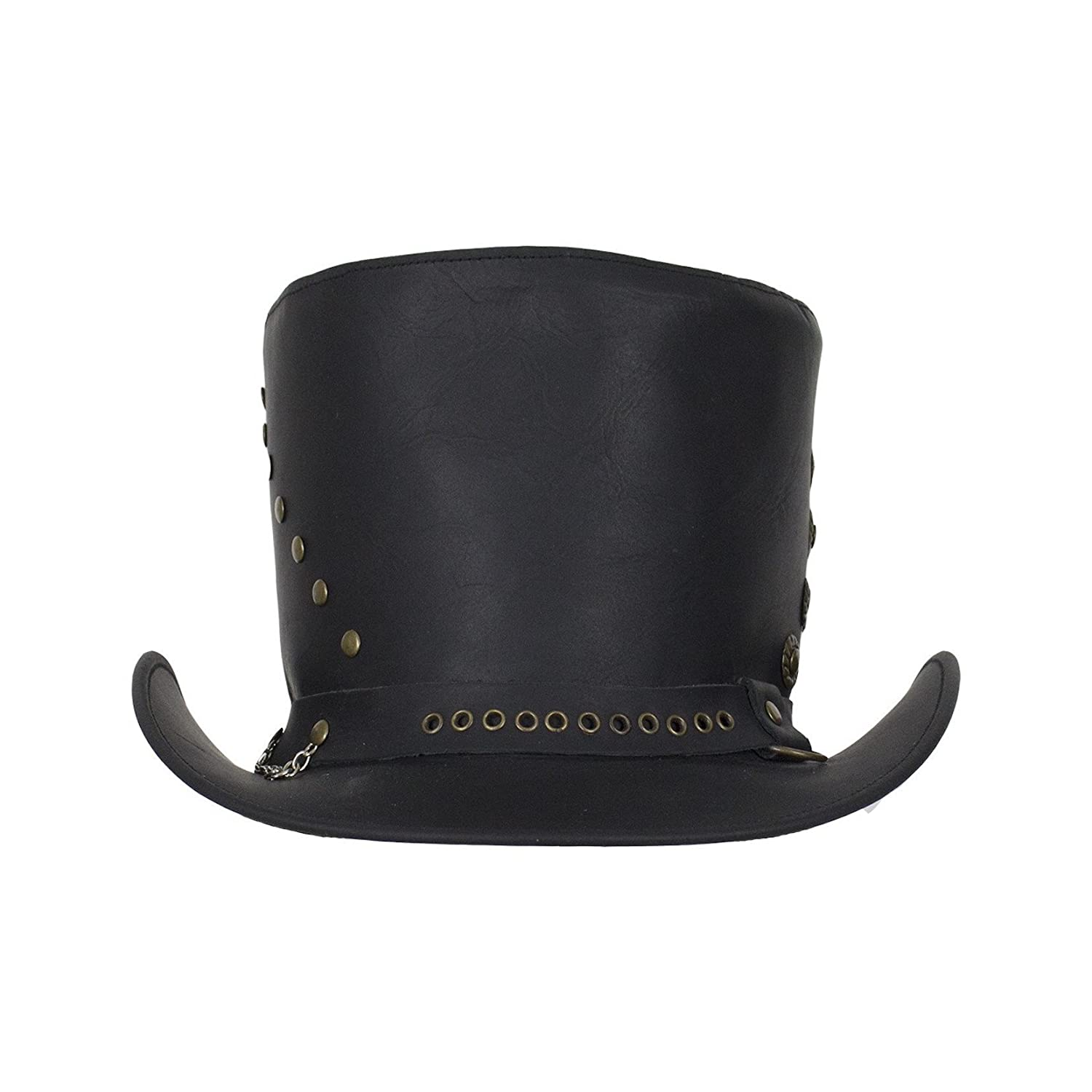 Genuine Black Leather Top Hat with Brass Studs