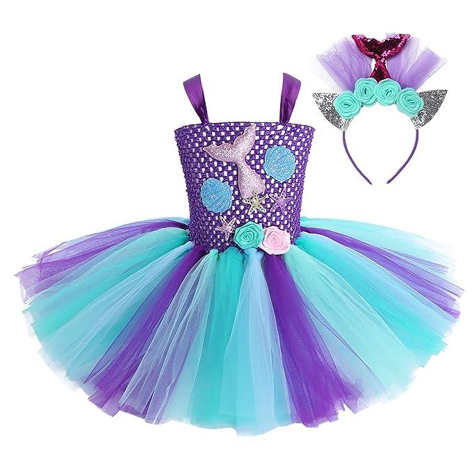inhzoy Vestido de Sirenita Princesa para Niña Disfraz Tutú de ...