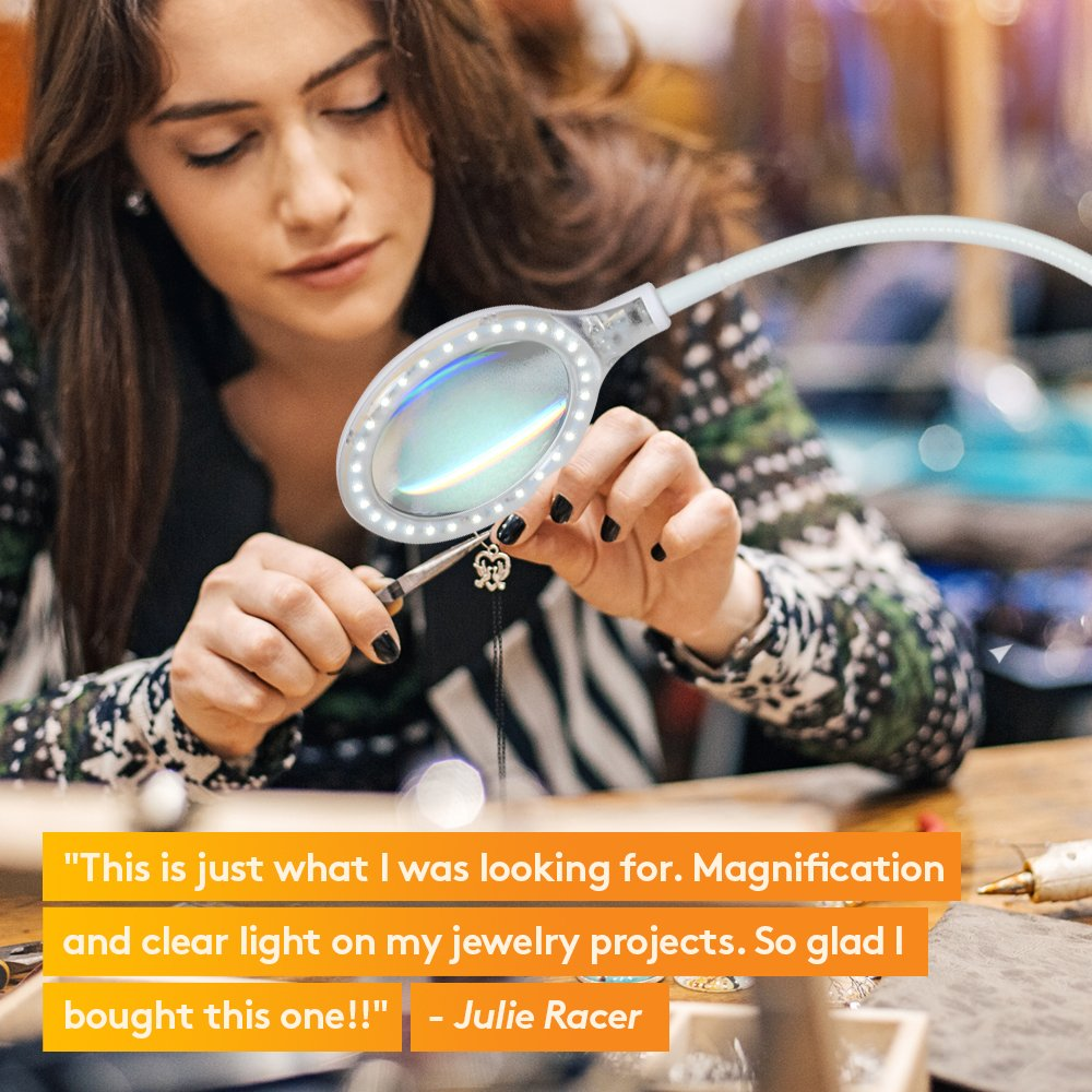 Brightech- LightView Pro Flex: LED Magnifying Lamp - 2 in 1 Clamp & Base Lamp for Table, Desk & Easel - Ultra Bright Daylight Light. Great for Reading, Hobbies, Crafts, Workbench- White by Brightech (Image #4)