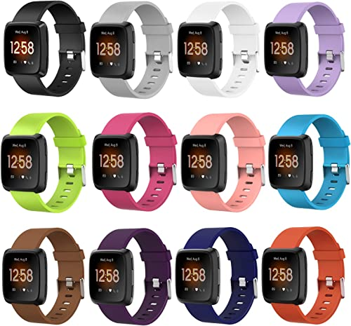UCAI 12 Packs Bands Compatible with Fitbit Versa Versa 2 Fitbit Versa Lite Edition Smart Watch, Large Small Soft Replacement Sport Wristbands Accessories for Women Men