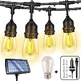 Solar String Lights Outdoor String Lights Patio Lights, FMIX 48FT Solar Outdoor String Lights,IP65 Waterproof, 5V Low Safe Vo