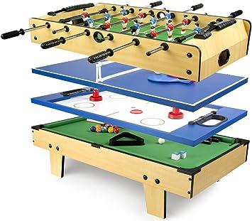 Leomark Mesa Multifuncional Multijuegos Futbolin Mesa de Juego 4 en 1 (futbolín, Billar, Tenis, Hockey) Buena Diversión para Niños Deporte Madera, Dimensiones: 82 x 43,5 x 20(A) cm: Amazon.es: Juguetes y juegos