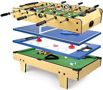 5ed65ad4be34b0 Leomark Table de Babyfoot 4 in 1 Multifonctionnel Jeu de Football,Bilard,  Tenis,