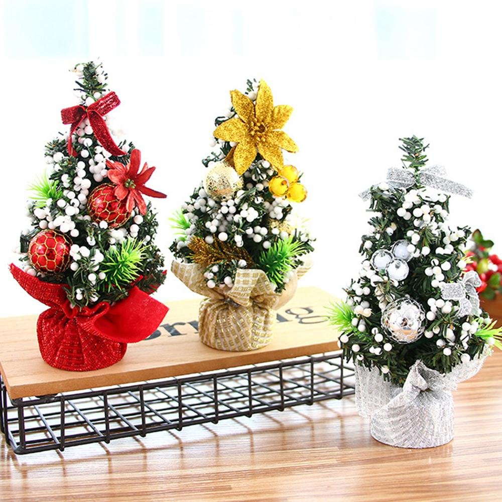 Mini Desk Christmas Tree 7.87inch Leegoal Xmas Decor Desk Table Decoration Festival Desktop Home Party Ornaments TM