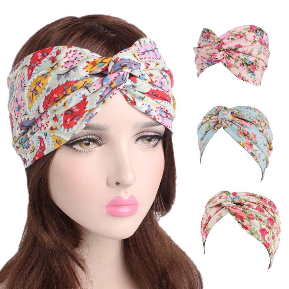 Amazon.com : Women Elastic Bohemia Turban Head Wrap Twisted Headband Hair Band Knot Flower Pattern Sunmoot : Beauty