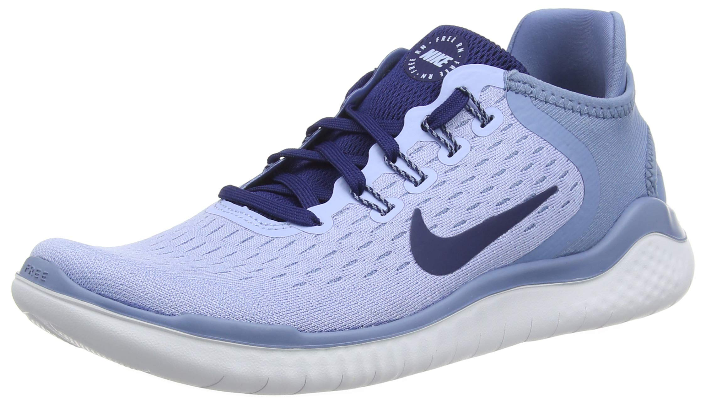 Nike Womens Free Run 2018 Running Shoes (9 B US, Aluminum/Blue Void/Work Blue/White)