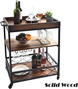 charaHOME Solid Wood Kitchen Serving Carts Rolling Bar Cart with 3 Tier Storage Shelves Kitchen Island Cart with Wine Glass Holder,Handle Racks,Lockable Caster Liquor Cart Removable Top Box Container