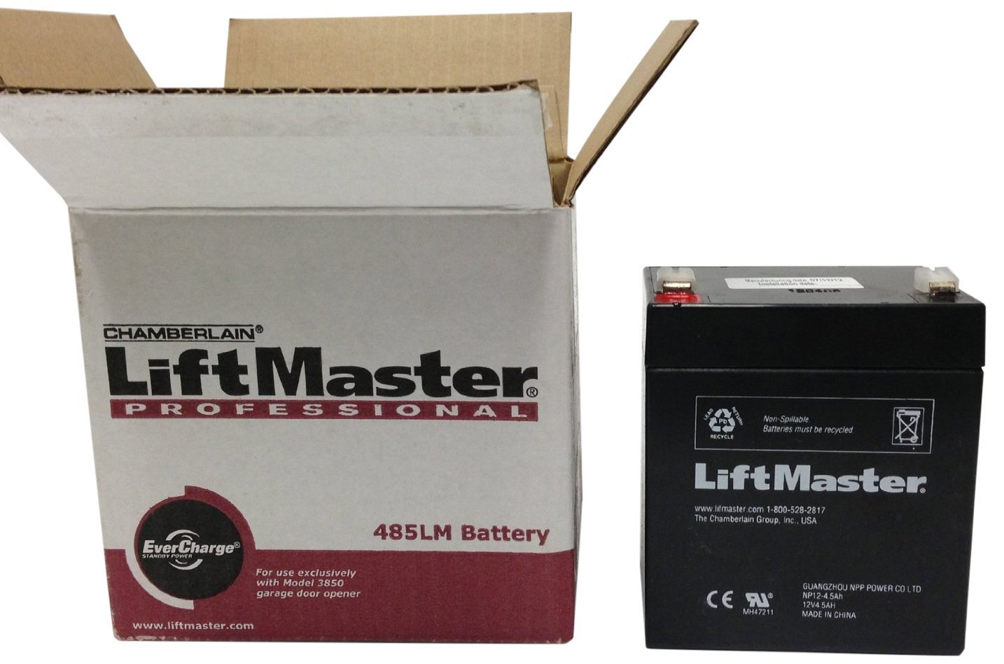 Amazon.com: Chamberlain Liftmaster 485LM Battery LiftMaster Garage Door  Openers 485LM Battery Backup, OEM: Home Audio U0026 Theater