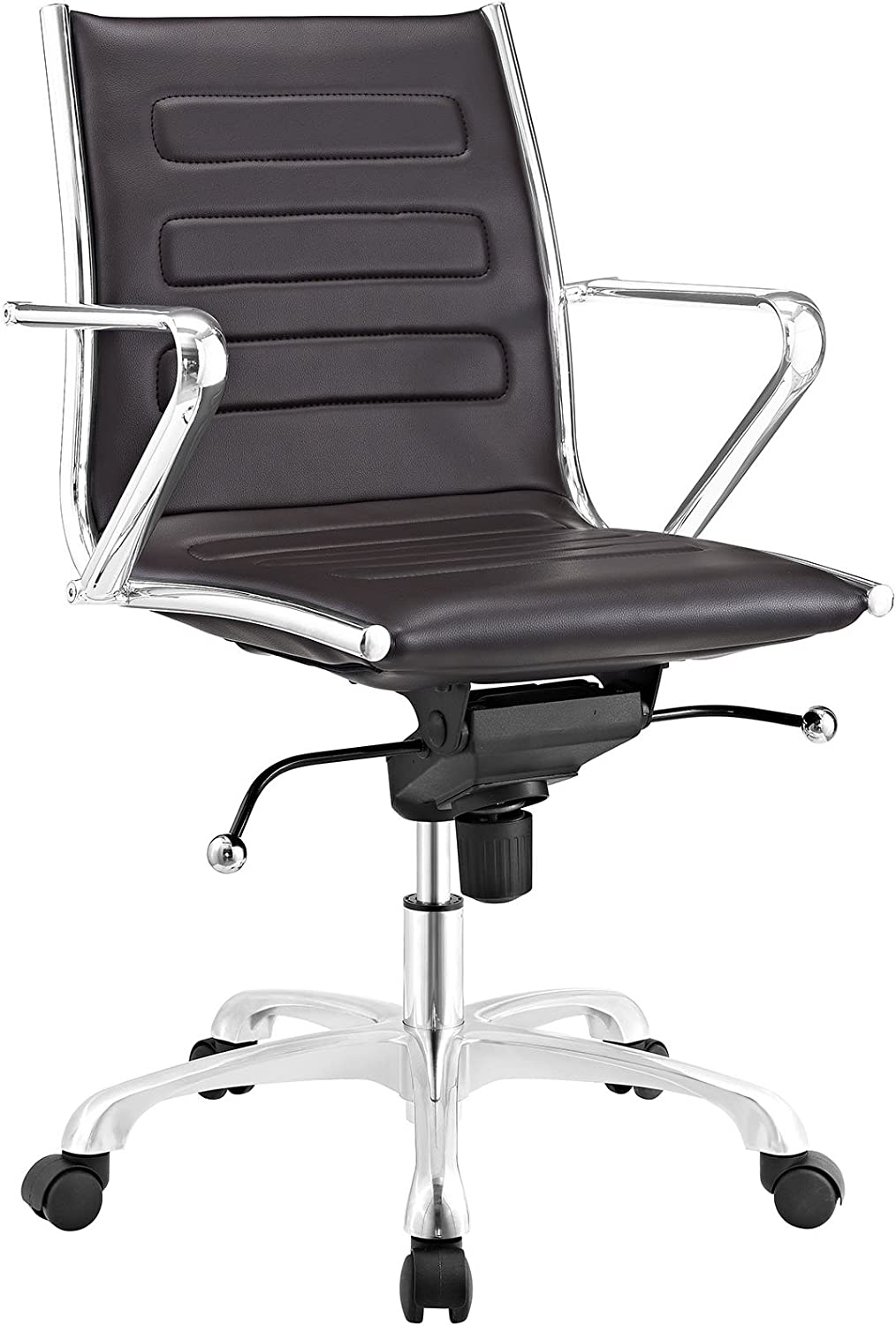 Modway Ascend Faux Leather Adjustable Swivel Office Chair in Brown
