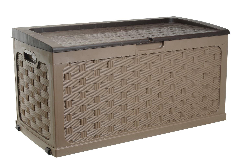 Starplast Rattan Deck Box, 71 Gallon, Mocha/Brown 56811