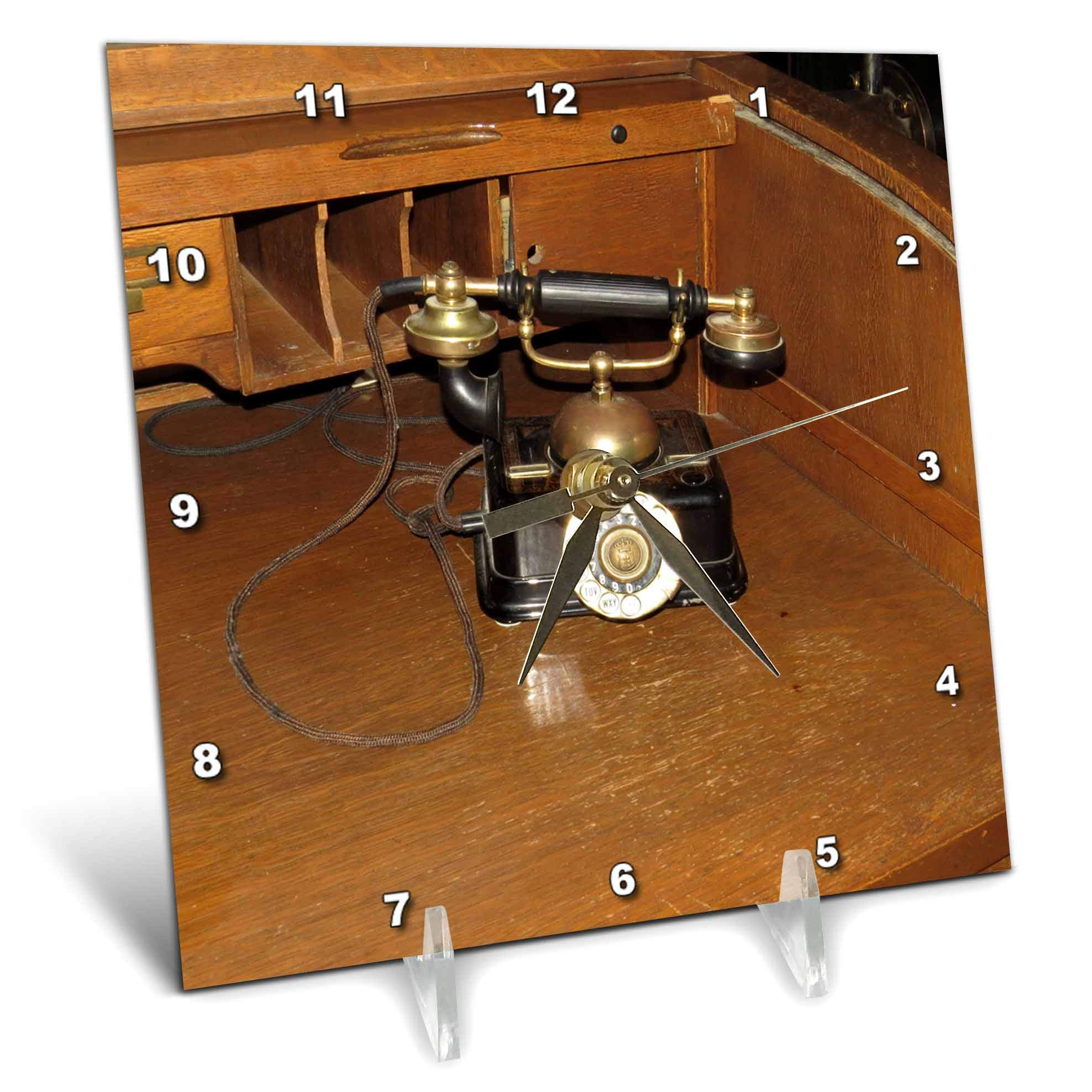 3dRose Jos Fauxtographee- Old Phone at Mizpah - an Old Telephone That Sits on a Desk at The Mizpah Hotel in NV - 6x6 Desk Clock (dc_291060_1)