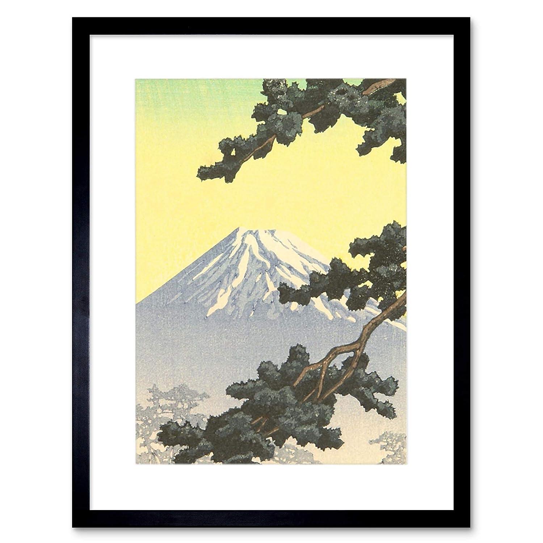 Nature Landscape Fuji Japan Vulcano Kawase Hasui stampa artistica con supporto B12/x 4057 12-Inches x 16-Inches Black