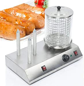 110V Electric Hot Dog Machine 850W Professional Stainless Steel Hot Dog and Bun Warmer Machine Grilled hot dog machine for Commerial or Home