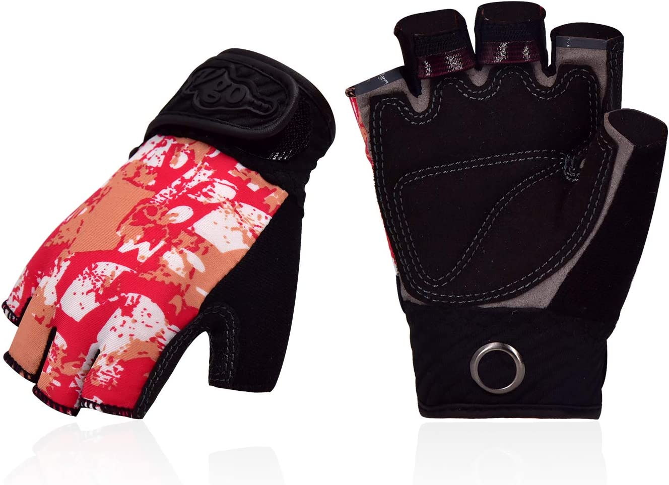 Vgo... Kids Half-Finger Breathable Climbing Gloves Outdoor Adventure Gloves with Anti-Slip Padding Palm(Red, L3100)