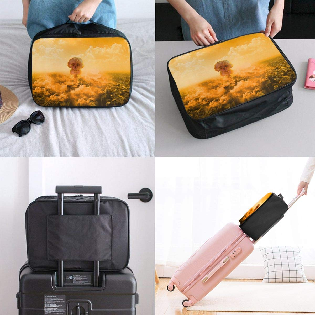 Travel Luggage Duffle Bag Lightweight Portable Handbag Explosion Skull Large Capacity Waterproof Foldable Storage Tote