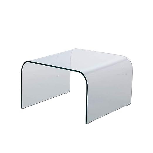 Qriosa Stile Italiano MOD. Arco tavolino Basso in Vetro curvato