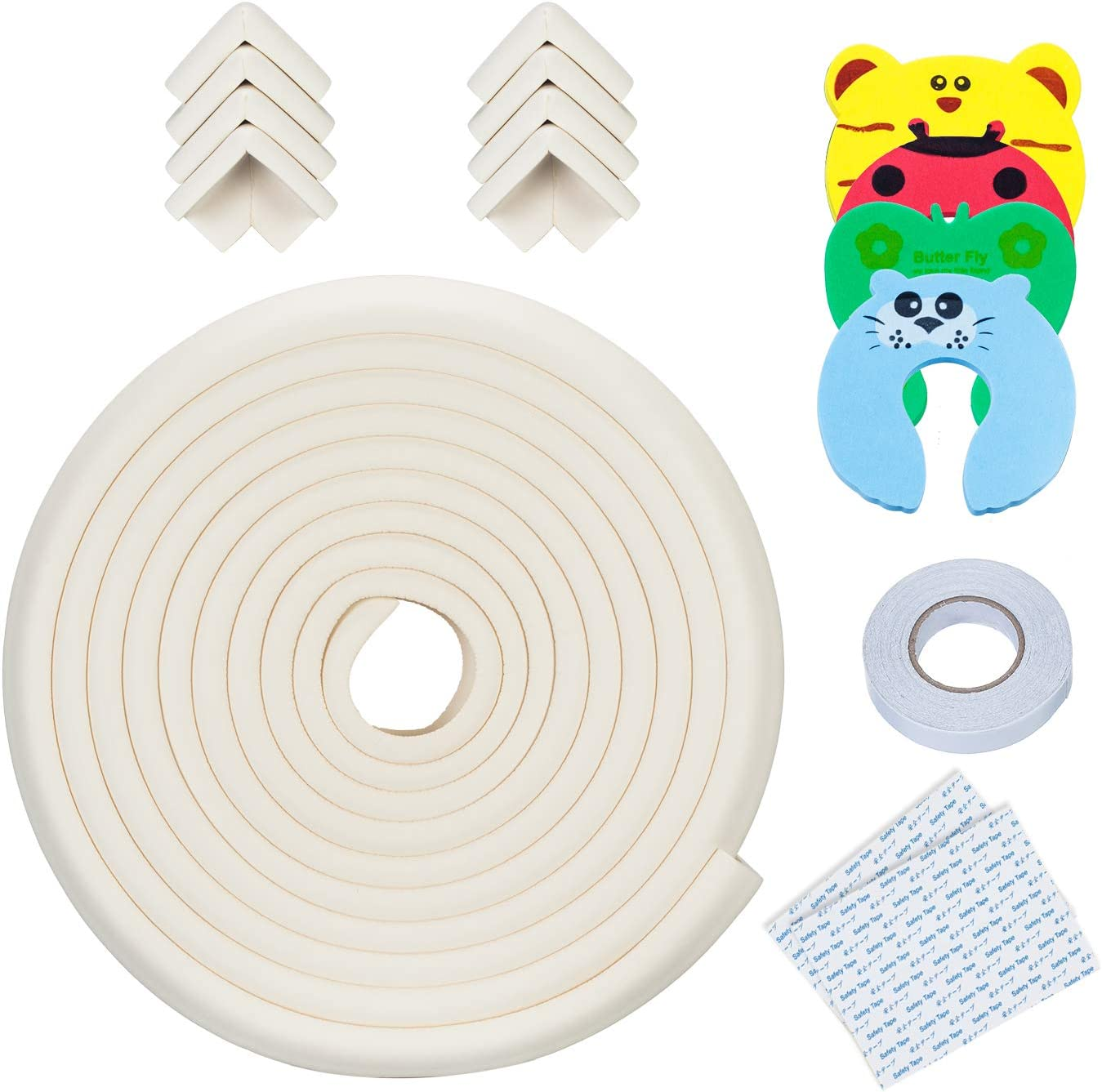 20.4ft Edge + 8 Corners + 4 Door Pinch Guard Oyster Baby Proofing Edge and Corner Guards 13 Piece Furniture Safety Set