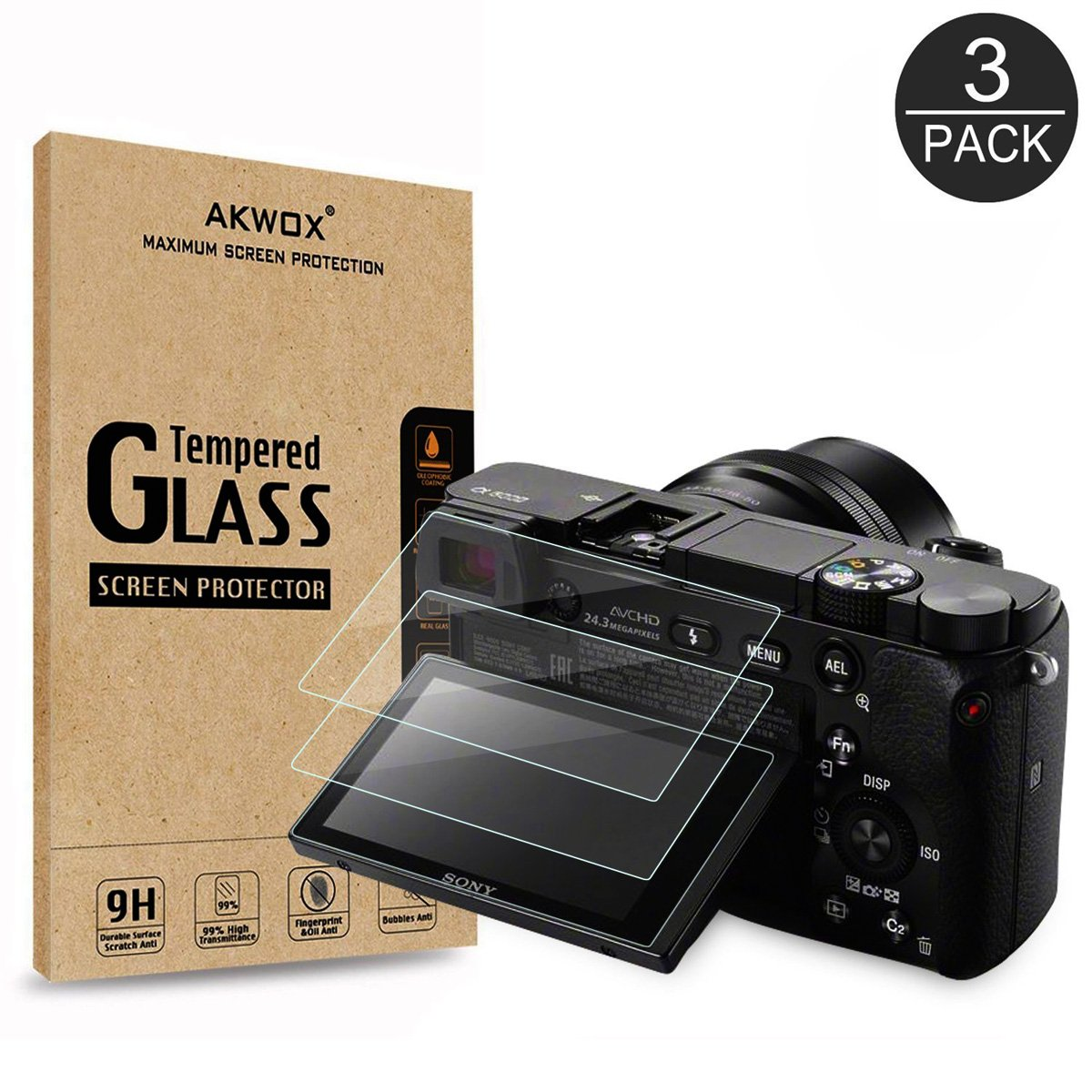 (3 Pack) LCD Screen Protector, Akwox Optical 9H Tempered Glass Screen Protective Firm For Sony Alpha A5000 A6000 A6300 NEX-3 NEX-5 NEX-7 DSLR Camera AK-GL044