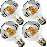 Half Chrome Light Bulb Dimmable 6W (Equivalent 60 Watt) G80/ G25 Globe Shape 2700K Warm White Decorative LED Edison Bulb Sliver Tipped Mirror Larger Light Bulb E26 Base Pack of 4