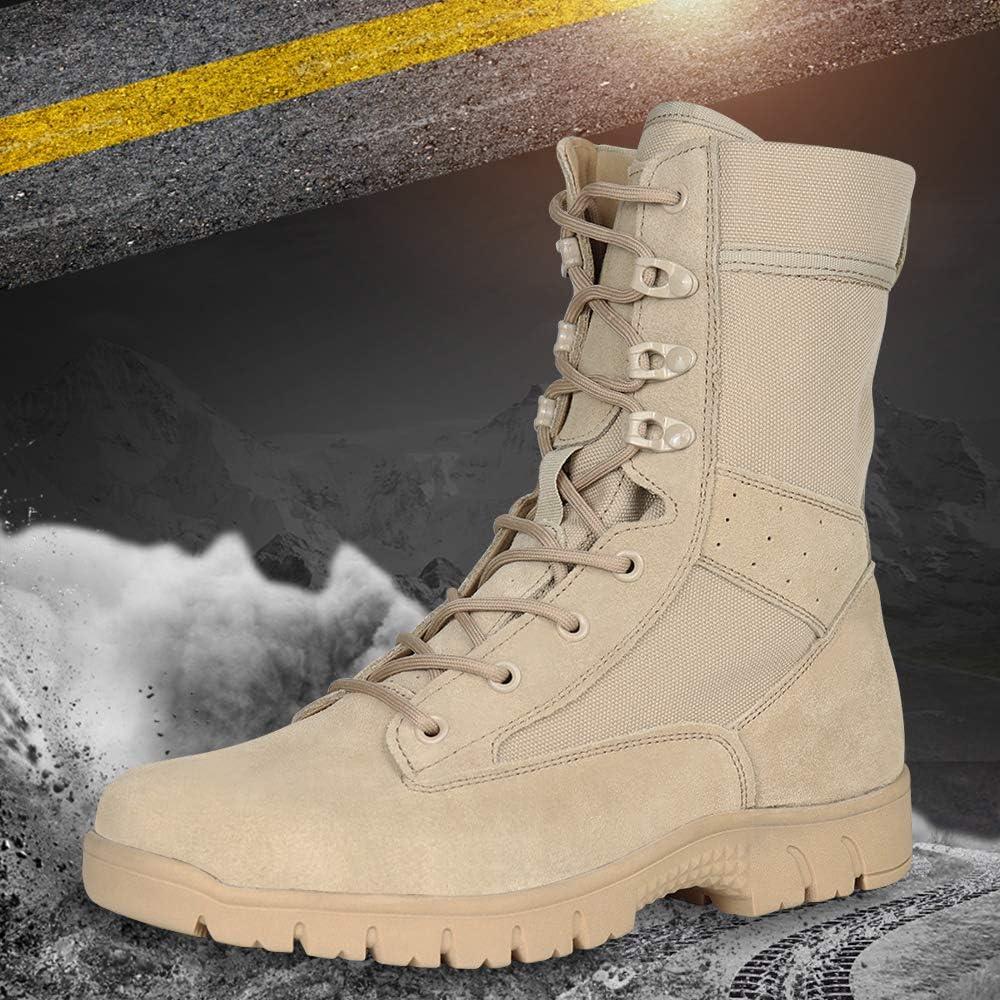 Qunlon Combat Patrol Boots Jungle Combat Boots Military Boots Police Boots Trekking Hiking Boots Beige