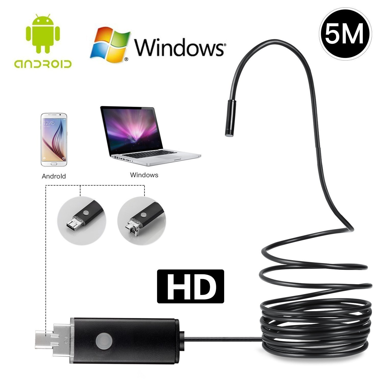 LJKEN 2 in 1 Micro USB Endoscope for PC/ OTG Android Smartphone, Borescope Camera 2.0 Megapixels CMOS HD Waterproof Inspection Snake Camera with 6 Adjustable Led Light - Black(5M)