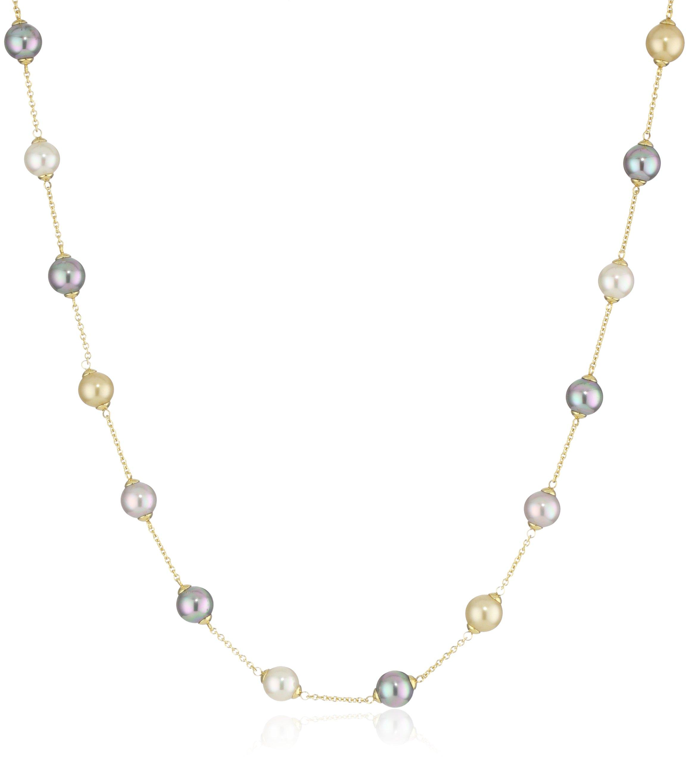 Majorica Vermeil 8mm Multi-Round Pearls Station Necklace, 18''
