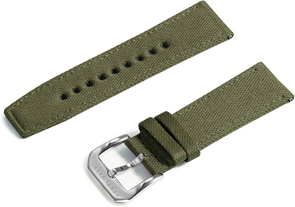 Perry Ellis Watch Band Quick Release Strap Replacement 24mm Denim Canvas Fabric Watch Strap with Genius Leather Watch Bands for Men Women Kids Smartwatch