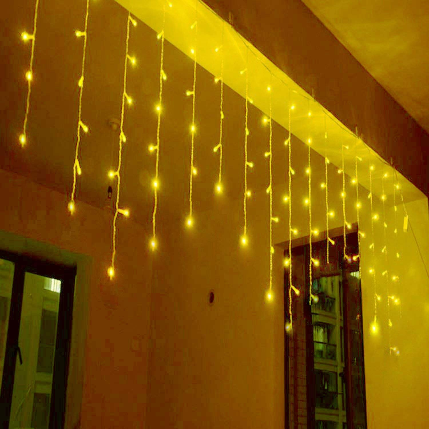 4M/13Ft 96 LED 8 Modes Curtain Window Decorative Room Patio Parties Rope String Wave Light (Warm White) YUJINQ