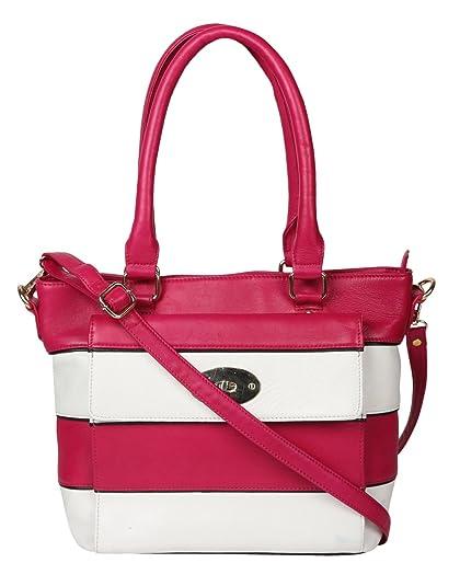 ecdefa62819 JL Collections Women's Leather Pink & White Shoulder Bag: Handbags ...
