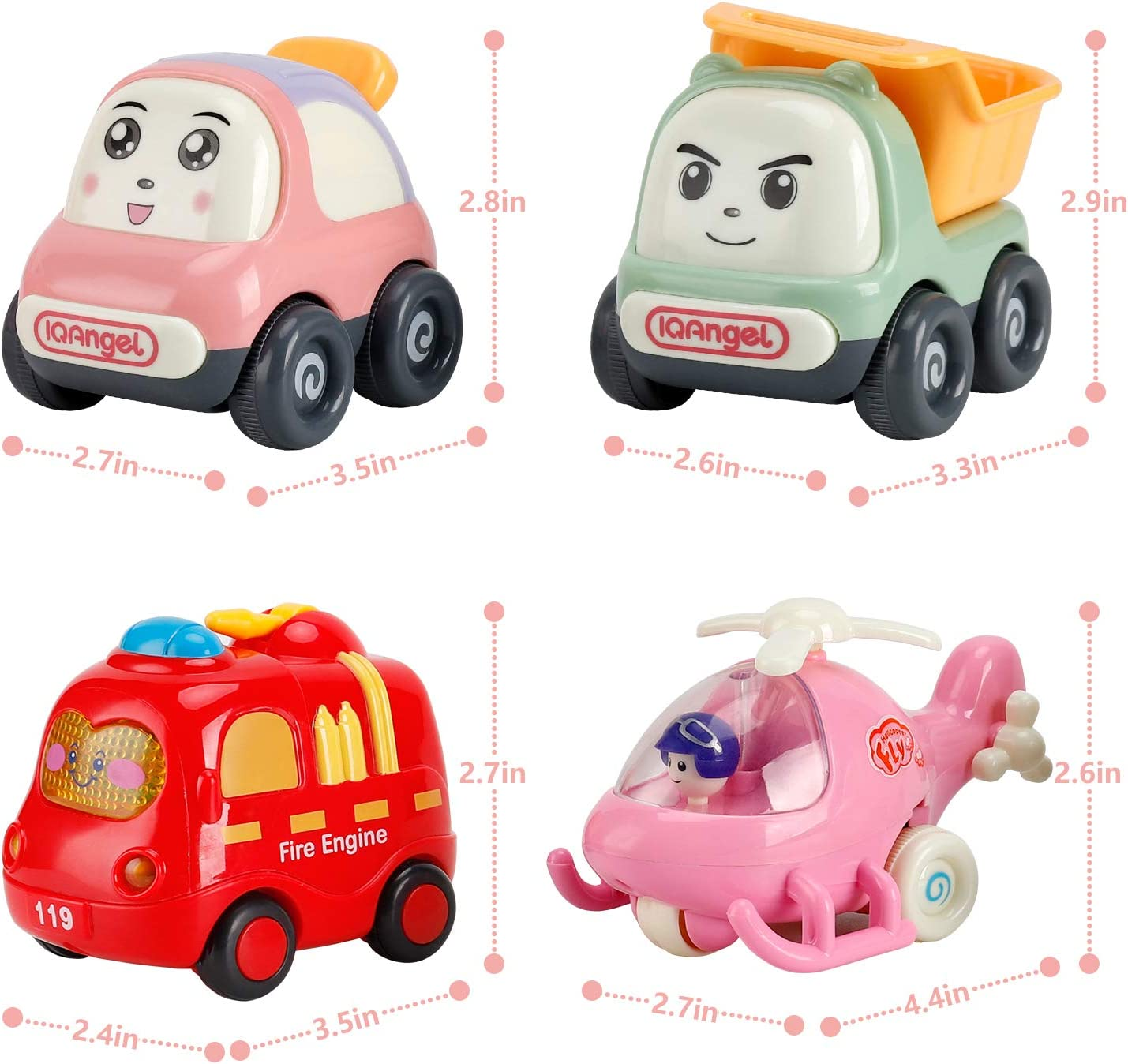 Random Colors 4 Pack Kids Early Educational Vehicles NASHRIO Pull Back Cars Toys for 1 2 3 Years Old Baby and Toddlers Boys and Girls Birthday Party Favors Gift