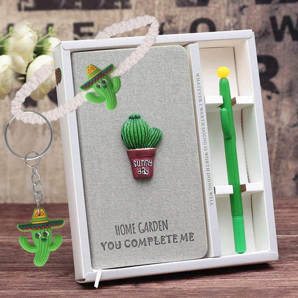 Diario de Cactus, Cuaderno de Diario de Cactus Lindos Cuaderno y Conjunto de Lápices de Gel, Plano Portátil Manual de color Rosa Ordinario, Regalo de Cumpleaños Linda Niña