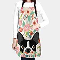 Granbey Boston Terrier Dog Flower Apron Dog Floral Aprons Dogs Flowers Kitchen Bib Cute Dogs Floral Waterproof Aprons…