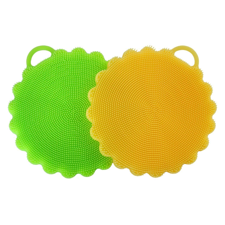 AphroD Silicone Dish Scrubber Dishwashing Cleaning Brush - 2 PCS Random Color (Orange/Green/Blue)