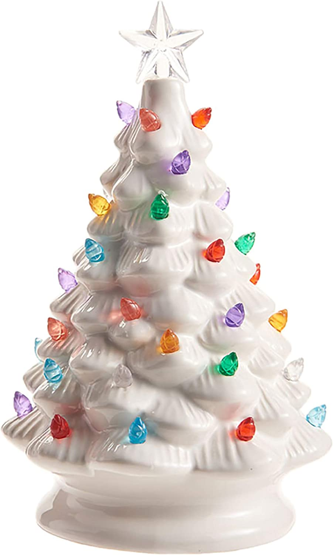 Raz White Ceramic Light Up Christmas Tree Tabletop Figurine, 8 Inch