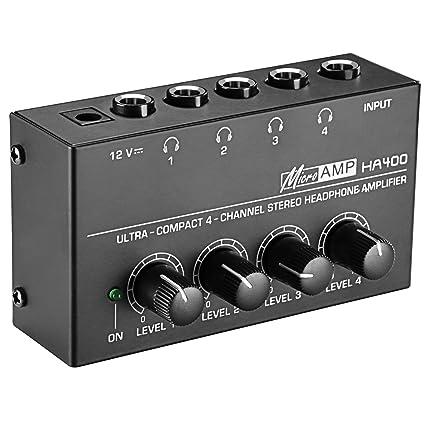 Neewer Super compactos Amplificador de Auriculares estéreo de 4 canales con adaptador de corriente DC 12V