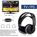 Wireless Universal TV Headphones, Monodeal Over-Ear Stereo RF Headphones With Charging Dock,