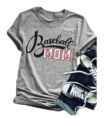 09f13284 LONBANSTR Women Baseball Mom Letter Print T Shirt Short Sleeve Tops Tee  (Small)