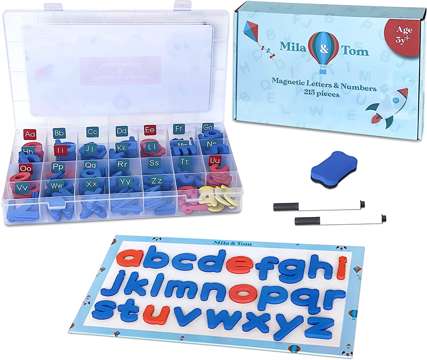 Magnetic Letters and Numbers Set - Foam Letter Kit +White Board - Lowercase & Uppercase Magnets for Kids - Learn ABC &Writing - Moveable Alphabet Set for Classroom Learning with Plastic Box