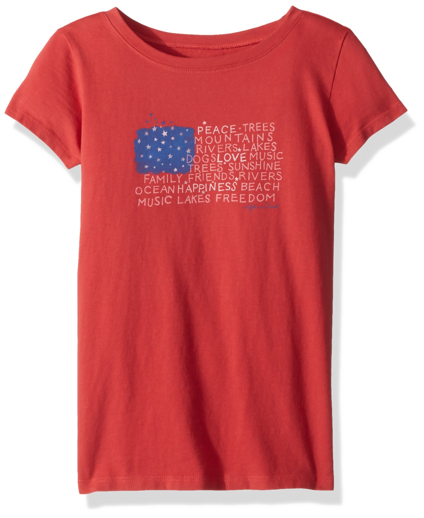 Life is Good Girl's crusher tee peace Love Flag, Americana Red, Large