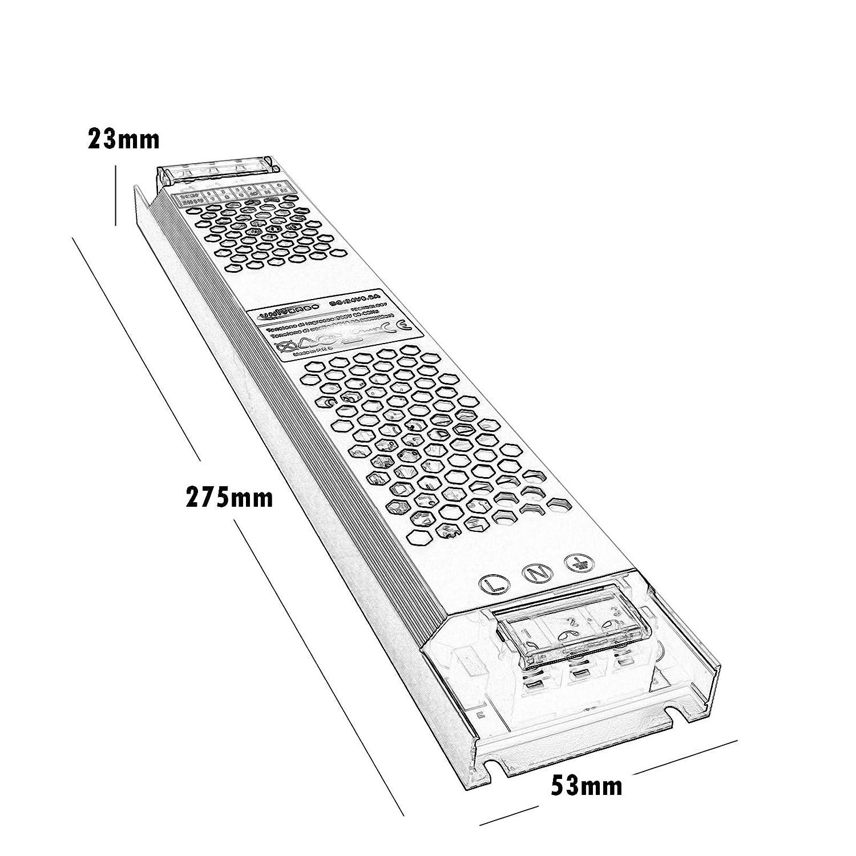 Fuente de alimentaci/ón 200 W transformador estabilizado slim 24 V 8,3 A tiras luces LED 230 V