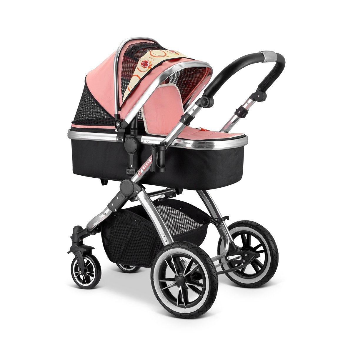 iVogue Peach Luxury 3in1 Pram Stroller Travel System Carseat+ISOFIX Base